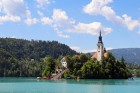 Famous church on island at Bled lake, Slovenia