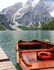 Ship on lake at Lago Braies, Italy